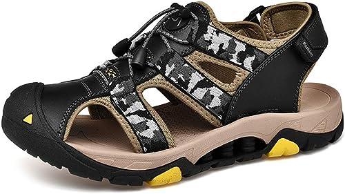 XHD-Chaussures Sandales pour Hommes Mode Mode Décontracté Camouflage Couleur Commodious Crochet & Boucle Sangle en Plein Air Chaussures d'eau (Couleur   Noir, Taille   45 EU)  prix ultra bas