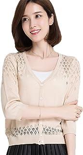 茜欧莉 V领蚕丝针织开衫女 夏季新款防晒衫修身百搭保暖空调衫短外搭 56627