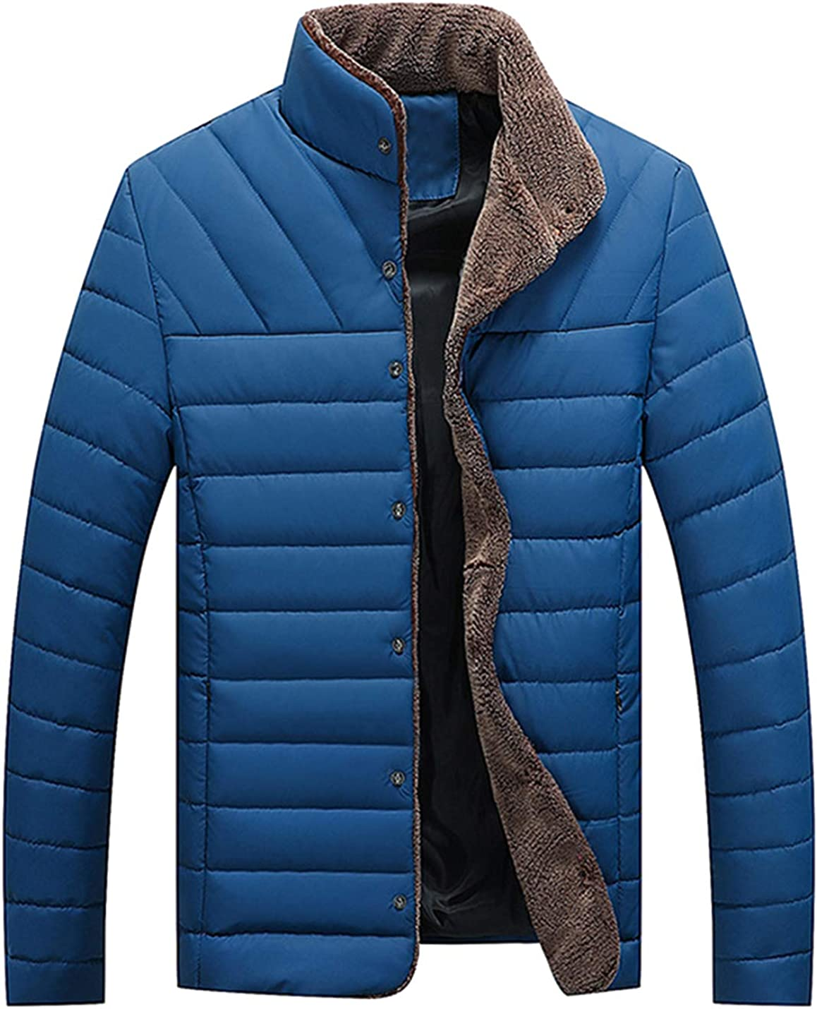 HaoMay Men's Winter Button Down Cotton-Padded Coat Stand Collar Quilted Jacket