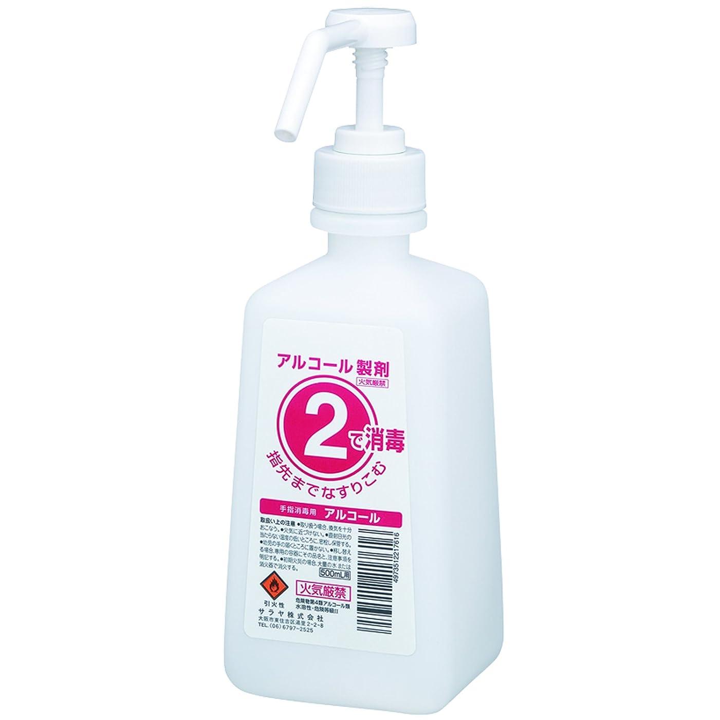 傾くシャンプー肉屋サラヤ 1?2(ワンツー)ボトル 噴射ポンプ付 手指消毒剤用 500mL 21761