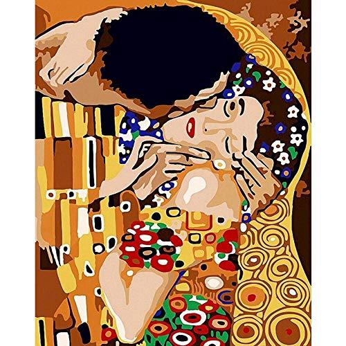 kldby Pintura por Números 40 x 50 cm Beso Cuadro Pintar con Numeros Adultos Niños Principiantes Decoraciones para el Hogar Sin Marco