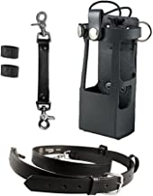 Boston Leather Bundle Three Items- Anti-Sway Strap for Radio Strap, Firefighter's Radio Strap/Belt, Firefighter's Radio Holder (for Motorola APX 6000XE/8000) (Black)