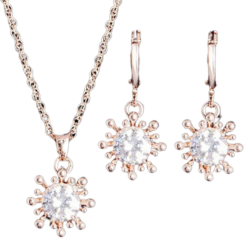 Flower Girl Jewelry Set,2Pcs/Set Women Flower Rhinestone Inlaid Pendant Necklace Earrings Party Jewelry