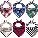 Dog Bandanas - 6PCS 2021 New Year Eve Gift Washable Green Black Red Square Plaid Printing Christmas Dog Bib Double Reversible Kerchief Scarf Accessories for Small to Large Dog Puppy Cat (Modernism)