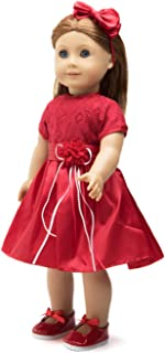 18 Inch Doll Clothes (Red Lace Holiday Dress with Matching Red Dress Shoes and Headband) Fits 18