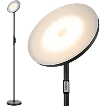 JOOFO Floor Lamp,30W/2400LM Sky LED Modern Torchiere 3 Color Temperatures Super Bright Floor Lamps-Tall Standing Pole Light with Remote & Touch Control for Living Room,Bed Room,Office(Black)
