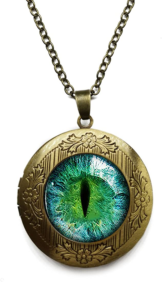 Vintage Bronze Tone Locket Picture Pendant Necklace Bestselling Dragon Eye Included Free Brass Chain Gifts Personalized