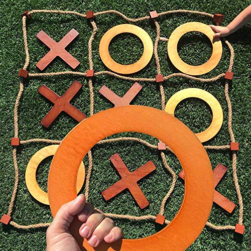 SWOOC Games - Giant Wooden Tic Tac Toe Game (All Weather)   3ft x 3ft   Big Wood X & O Pieces with Rope Game Board   Large Outdoor Tic Tac Toss Across Yard Game for The Whole Family