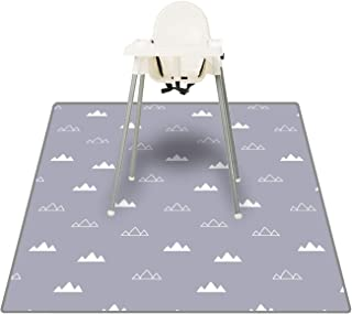Pewter Gray Leather High Chair Splat Mat Waterproof by Lark Leather Goods Premium Luxurious Leather Wipeable Straight Edge, 40 x 40