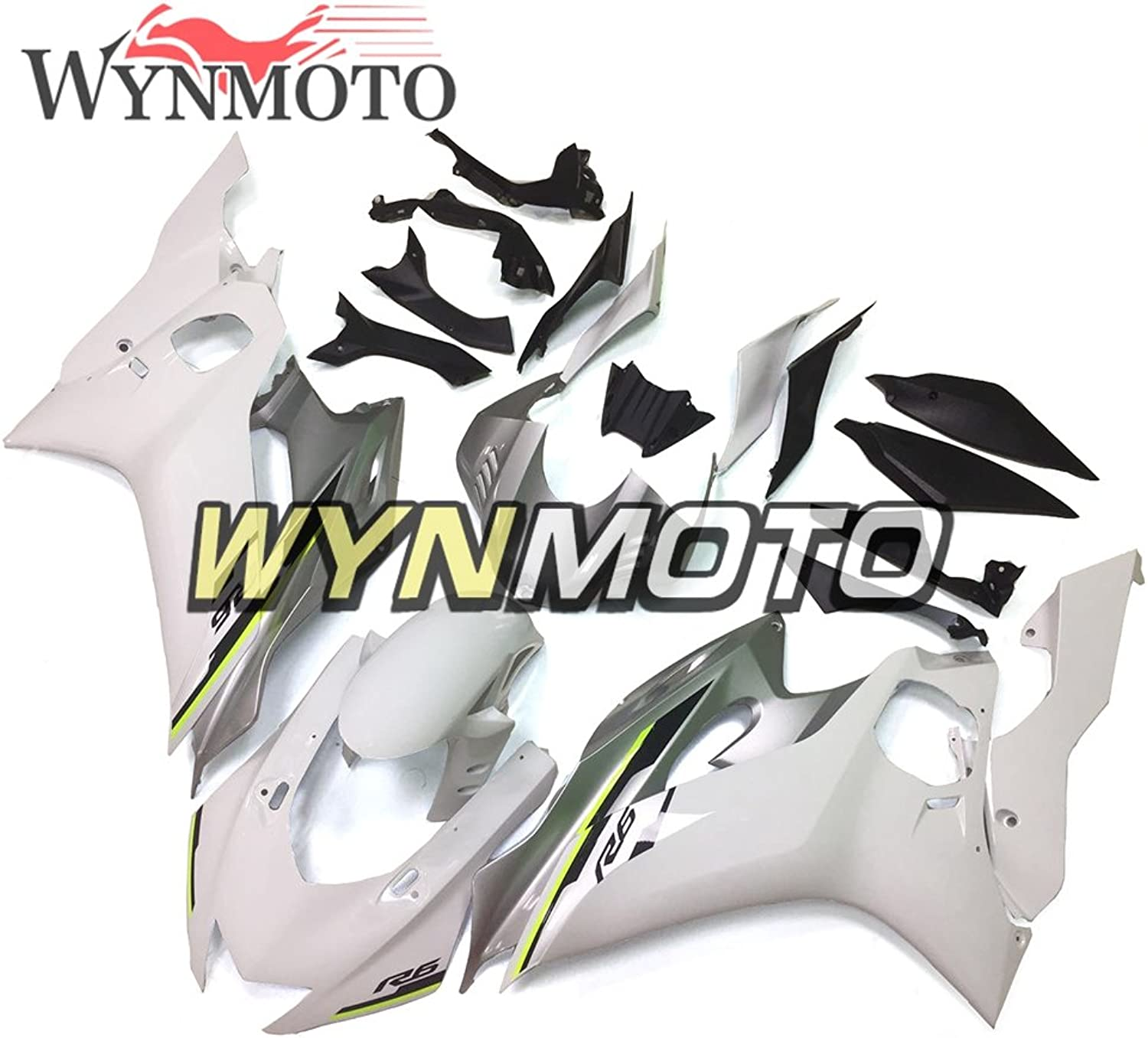 WYNMOTO White Silver Complete Motorcycle Fairing Kit for Yamaha YZF600 R6 Year 2017 Bodywork ABS Plastic Injection New Cowlings