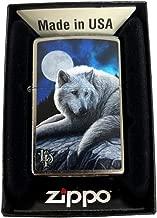 Zippo Custom Lighter - Classic Street Chrome Lisa Parker Arctic Wolf Guardian of The North Moon Night