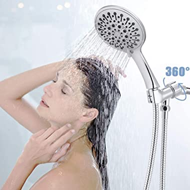 """Androme 4.7"""" Handheld Shower Head With Hose and 6 Spray Settings, Hand held Rain Shower with High Pressure Boosting, Adju"""