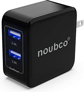 noubco Dual USB Wall Charger, 4.8A 24W Multi Port AC Charging Adapter with Foldable Plug for iPhone, iPad, Samsung Galaxy, HTC, Huawei, Xiaomi, BlackBerry, and More - Black