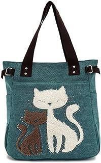 Minetom Frauen Schulter Beutel Segeltuch Tasche Niedliche Katzen Tasche Büro Mittagessen Beutel Einkaufstüten Handtasche