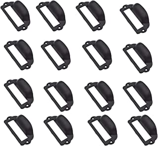 SpzcdZa16 Pcs 82x40mm Label Card Holder Drawer Pull/Label Frames Card/Tag Pull/Cabinet Frame Handle/File Name Card Holder for Office Furniture Cupboard Cabinet Drawer Box Case Hardware(Black)