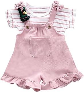 Hirolan Baby Strampler Mädchen Streifen Kurzarm-Shirt  Hosenträger Sommer Shorts Lätzchen Set Kinder Taufbekleidung Krabbelhose Walkoverall Spielanzug Bodys & Einteiler