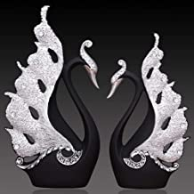 L-DDYX Home Decoration Accessories A Couple of Swan Statue Home Decor Sculpture Modern Art Ornaments Wedding Gifts for Friends Lovers,Black
