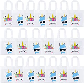 K KUMEED 20 Pack Unicorn Party Bags, Reusable Party Treat Bags Gift Goody Bags for Unicorn Party Favors, Boys and Girls Birthday Party Supplies, Baby Shower