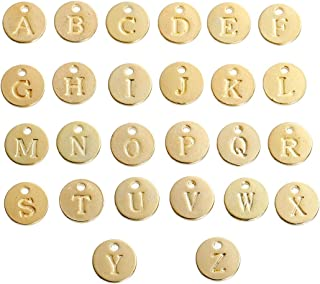 52 Count Gold Plated Round Alphabet Charms 1/2 Inch Diameter - Engraved Letter Charms