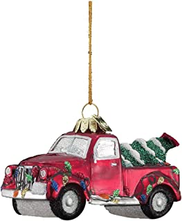 Kurt-Adler Glass Ornament with S-Hook and Gift Box, Festive Collection (Truck with Christmas Tree, NB0200)