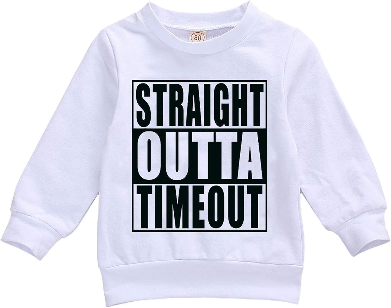 Unisex Baby Boys Girls Long Sleeve Letters Print Pullover Hoodie Sweatshirt Top