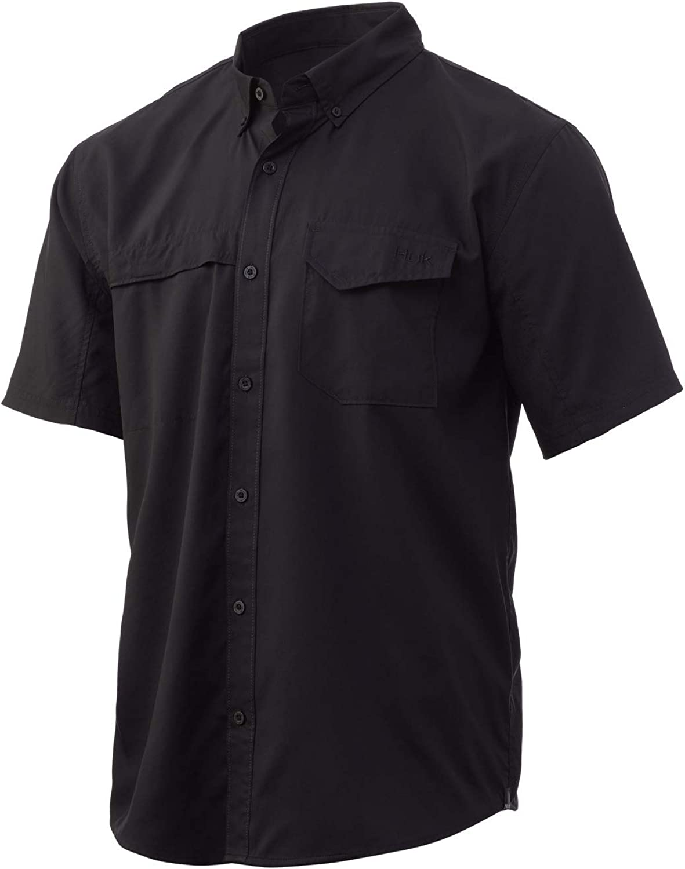 HUK Men's Tide Point Short Sleeve Shirt | Performance Button Down, Black, X-Large