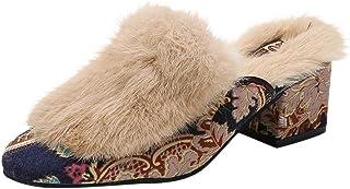 Bresez Slipper Slipper voor dames, met pluche, voor dames, kristal, ethinic, warme sneeuwschoenen, modieuze schoenen met l...