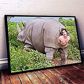 Wall Art The Rhino in Ace Ventura Canvas Posters Painting For Living Room Bedroom Decor Gifts Artwork No Frame 12x20inch