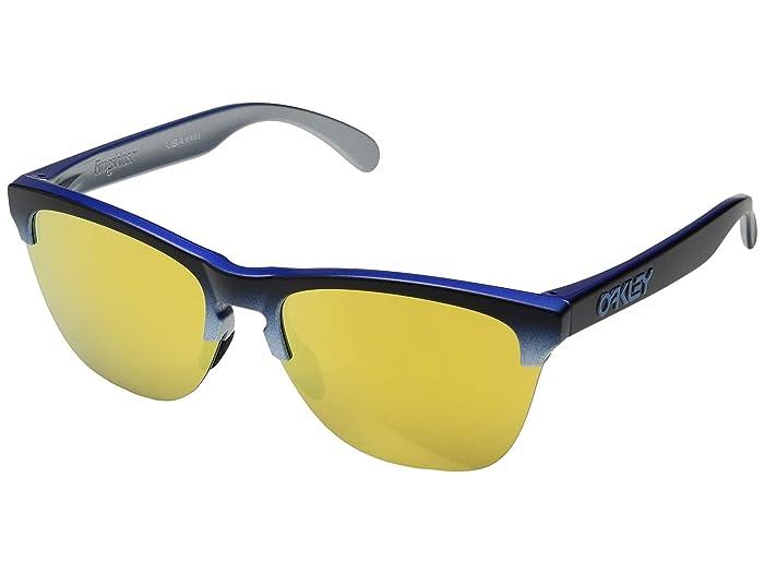 Oakley Frogskins Lite (Blue Black Fade Silver/24K Iridium) Sport Sunglasses