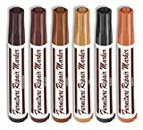 Imperial Home 6 Pcs Wood Stain Markers Set - Furniture Restoration & Repair Marker Pens - 6 Felt Tip Wood Markers - 6 Wax Stick Crayons - Maple, Oak, Cherry Walnut, Mahogany, Black