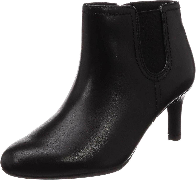 Clarks Womens Dancer Sky Black Leather Slim Heel Ankle Boots D Width Size