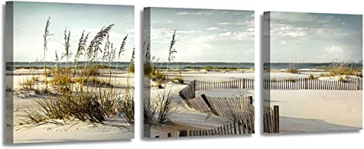 Beach Canvas Picture Wall Art: Coastal Sand Dunes Artwork Painting on Canvas Print for Dining Room (12'' x 12'' x 3 Panels)