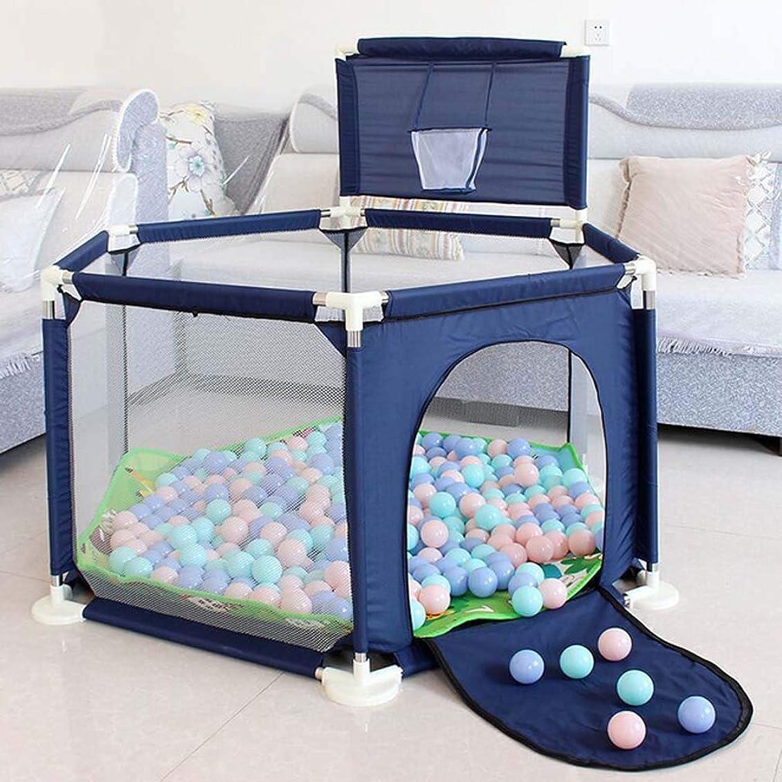 料理湿地グローブベビーベビーサークルはバスケットボールフープでヤードを再生し、ポータブル屋内屋外ベビープレイヤードフェンス幼児子供の安全ヤード楽しいActivitiesPopularおもちゃを再生 (Color : Blue)