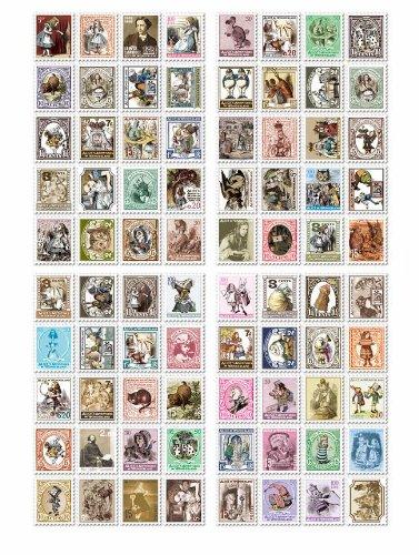 童話 欧州 アンティーク 切手 シール 80枚×6種 セット アリス オズの魔法使い 星の王子様 イギリス パリ ロンドン 切手女子 コレクション アクセサリー ラッピング 用に (6種セット)