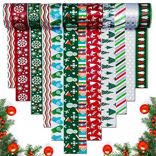 Christmas Washi Tapes - 12 Rolls 3 Sizes Silver Winter Foil Merry Christmas Masking Tape Cute Holiday Washi Tape Kids Chirstmas Craft Supplies, Perfect for Christmas Card Gift Wrapping