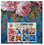 Decoupage Paper Pack (24 Sheets 6'x6') Art Deco Large Flowers FLONZ Vintage Styled Paper for Decoupage and...