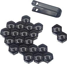 20 st 17 mm lichtgevende auto bout caps band wiel noten zachte siliconen (Color : Black 17mm)