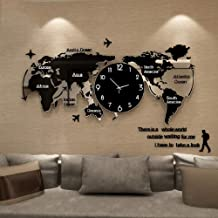 LOSZDH 120 * 55cm Large World Map Wall Clock 3D Stickers Hanging Clock Glowing In Dark Unique Watch Wall Clocks On The Wall