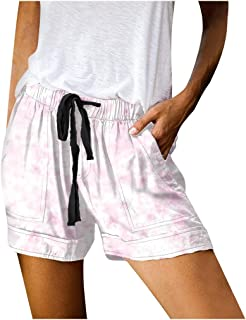 Beishi Womens Sport Shorts, Womens Summer Leopard Shorts Drawstring Elastic Waist Pockets Casual Pants