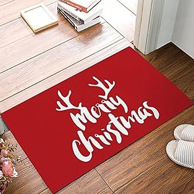 Christmas Antlers Home Doormat Non Slip Indoor/Outdoor/Front Door/Bathroom Entrance Mats Rugs Carpet