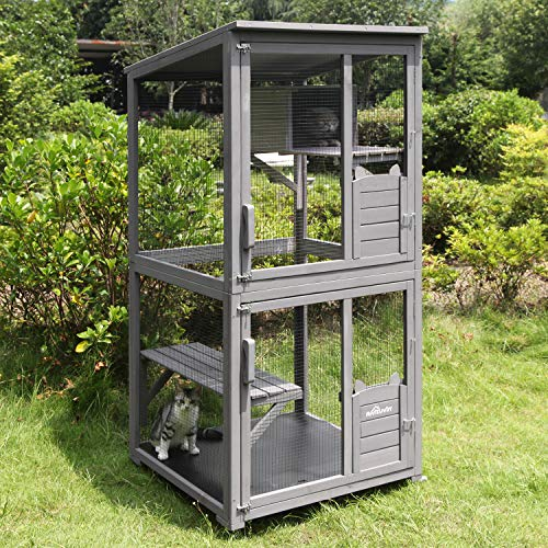 "Aivituvin Large Wooden Cat House Outdoor and Indoor Run 70.9"" Wooden Cat Enclosure on Wheels Bird Cage for Parrot with Polished Wooden perches,Waterproof Roof"