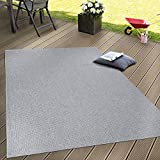 Paco Home In- & Outdoor Teppich, Terrasse u. Balkon, Einfarbig Mit Struktur, Grösse:200x280 cm, Farbe:Grau