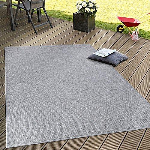 Paco Home In- & Outdoor Teppich, Terrasse u. Balkon, Einfarbig Mit Struktur, Grösse:60x100 cm, Farbe:Grau