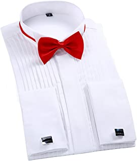 TAOBIAN Mens Pleated Tuxedo Shirt French Cuff Formal Dress Shirt Wing Tip Collar