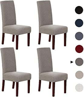 Marchtex Soft Spandex High Back Dining Chair Covers (Set of 4) Rich Textured Lycra Super Spandex Small Checks Knitted Jacquard Dining Room Chair Seat Slipcover/Protector/Shield, Taupe