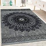 Alfombra Diseño Salón Estampado Mandala Pelo Corto Estilo Barroco Gris Y Negro, tamaño:240x340 cm