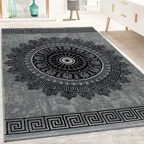 Paco Home Designer Teppich Wohnzimmer Mandala Muster Kurzflor Barock Stil In Grau Schwarz, Grösse:240x340 cm