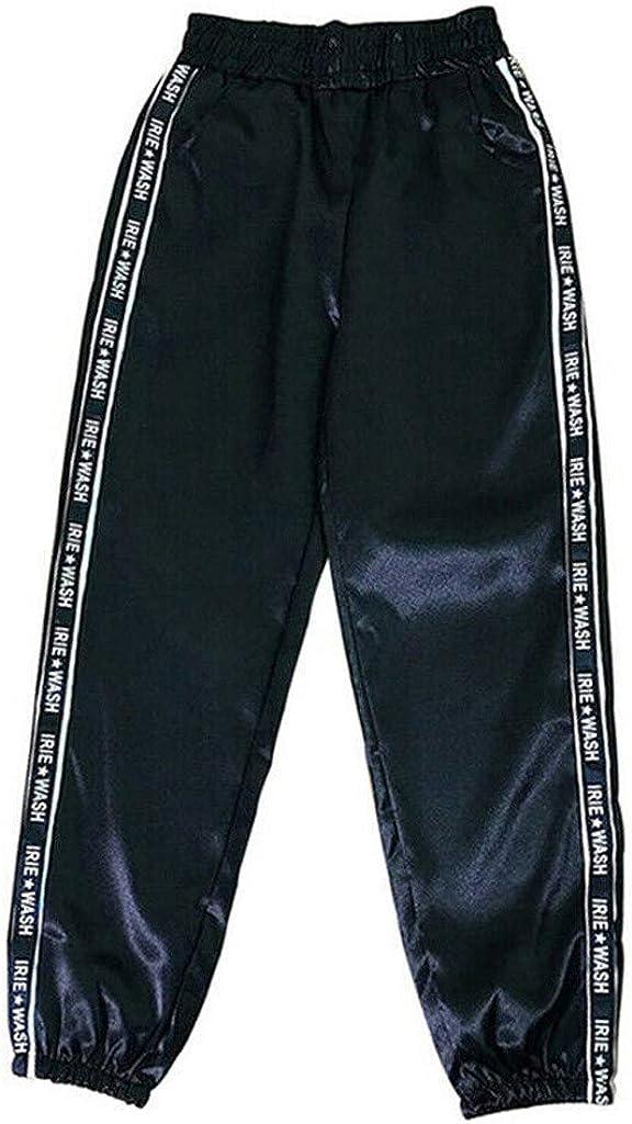 Gergeos Women Fashion Elastic Waist Reflective Ribbon Casual Sport Pants with Pocket