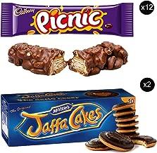 McVities Jaffa Cakes Two Boxes + Cadbury Picnic Bar | Total 12 bars of British Chocolate Candy - Cadbury Picnic Bars 48.g each