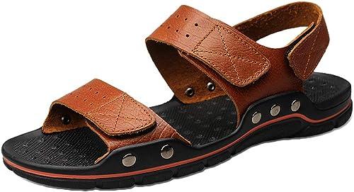 snfgoij Herren Sandalen aus echtem Leder Open Toe Casual Gladiator Sandalen Athletic Hiking Sandals leichte Strandschuhe Größe Hausschuhe